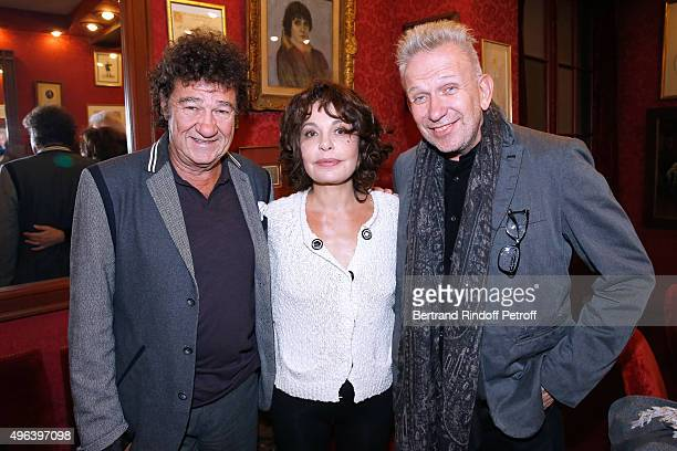 Robert Charlebois Actress of the Piece Isabelle Mergault and Fashion Designer JeanPaul Gaultier attend the Theater Play 'Ne me regardez pas comme ca...