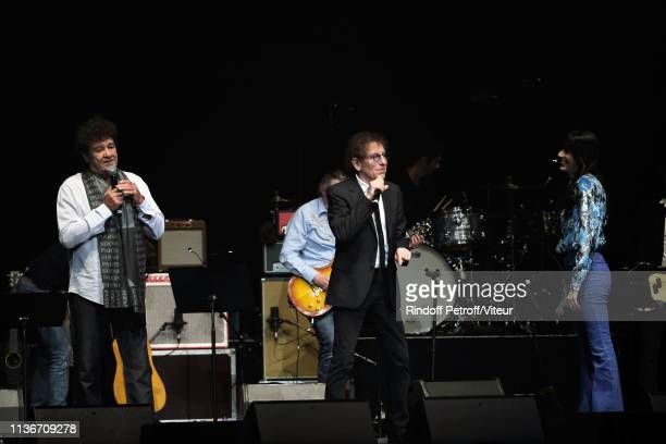Robert Charlebois Alain Souchon and Nolwenn Leroy perform during the Charity Gala against Alzheimer's Disease At L'Olympia on March 18 2019 in Paris...