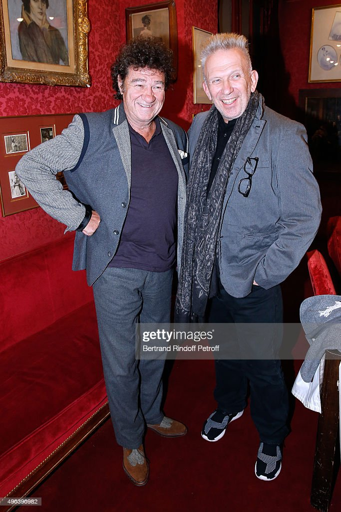 Robert Charlebois and Fashion Designer Jean-Paul Gaultier attend the Theater Play 'Ne me regardez pas comme ca !', performed at 'Theatre Des Varietes' on October 16, 2015 in Paris, France.