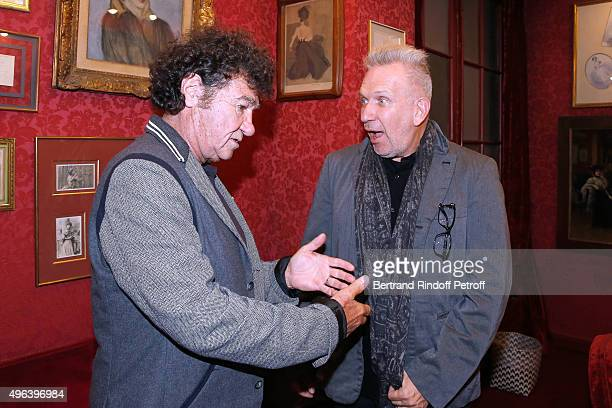 Robert Charlebois and Fashion Designer JeanPaul Gaultier attend the Theater Play 'Ne me regardez pas comme ca ' performed at 'Theatre Des Varietes'...