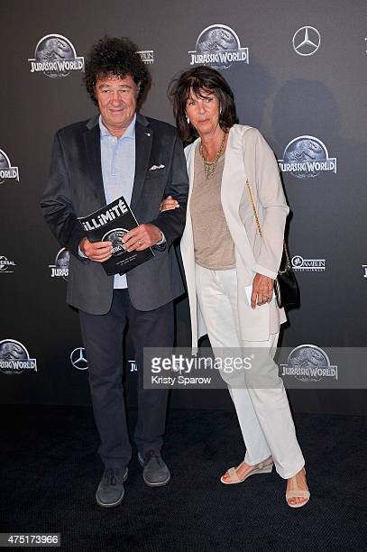 Robert Charlebois and his wife Laurence attend the 'Jurassic World' Photocall at UGC Normandie on May 29 2015 in Paris France