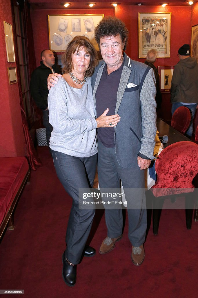 Robert Charlebois and his wife Laurence attend the Theater Play 'Ne me regardez pas comme ca !', performed at 'Theatre Des Varietes' on October 16, 2015 in Paris, France.