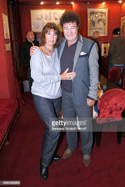 Robert Charlebois and his wife Laurence attend the Theater Play 'Ne me regardez pas comme ca ' performed at 'Theatre Des Varietes' on October 16 2015...