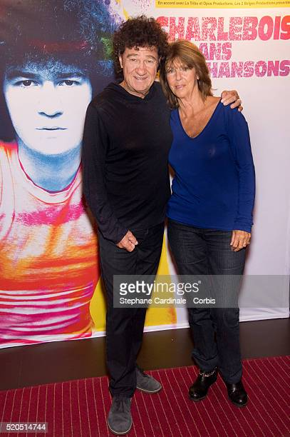 Robert Charlebois and his wife Laurence Charlebois at Bobino on April 11 2016 in Paris France