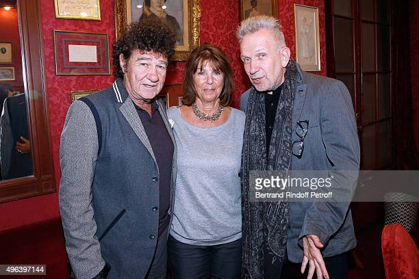 Robert Charlebois his wife Laurence and Fashion Designer JeanPaul Gaultier attend the Theater Play 'Ne me regardez pas comme ca ' performed at...