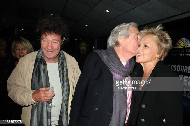 Robert Charlebois JeanLoup Dabadie and Muriel Robin attend the Et Pof Muriel Robin One Woman Show At Palais Des Sports on October 03 2019 in Paris...