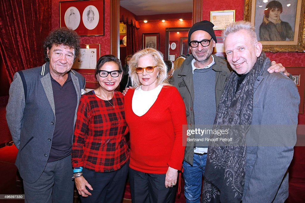 Robert Charlebois, Journalist Marie Colmant, Sylvie Vartan, Tanel Bedrossiantz and Fashion Designer Jean-Paul Gaultier attend Sylvie Vartan triumphs in the Theater Play 'Ne me regardez pas comme ca !', performed at 'Theatre Des Varietes' on October 16, 2015 in Paris, France.