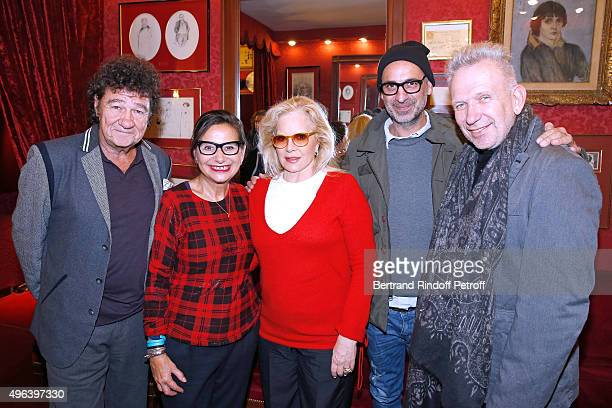 Robert Charlebois Journalist Marie Colmant Sylvie Vartan Tanel Bedrossiantz and Fashion Designer JeanPaul Gaultier attend Sylvie Vartan triumphs in...