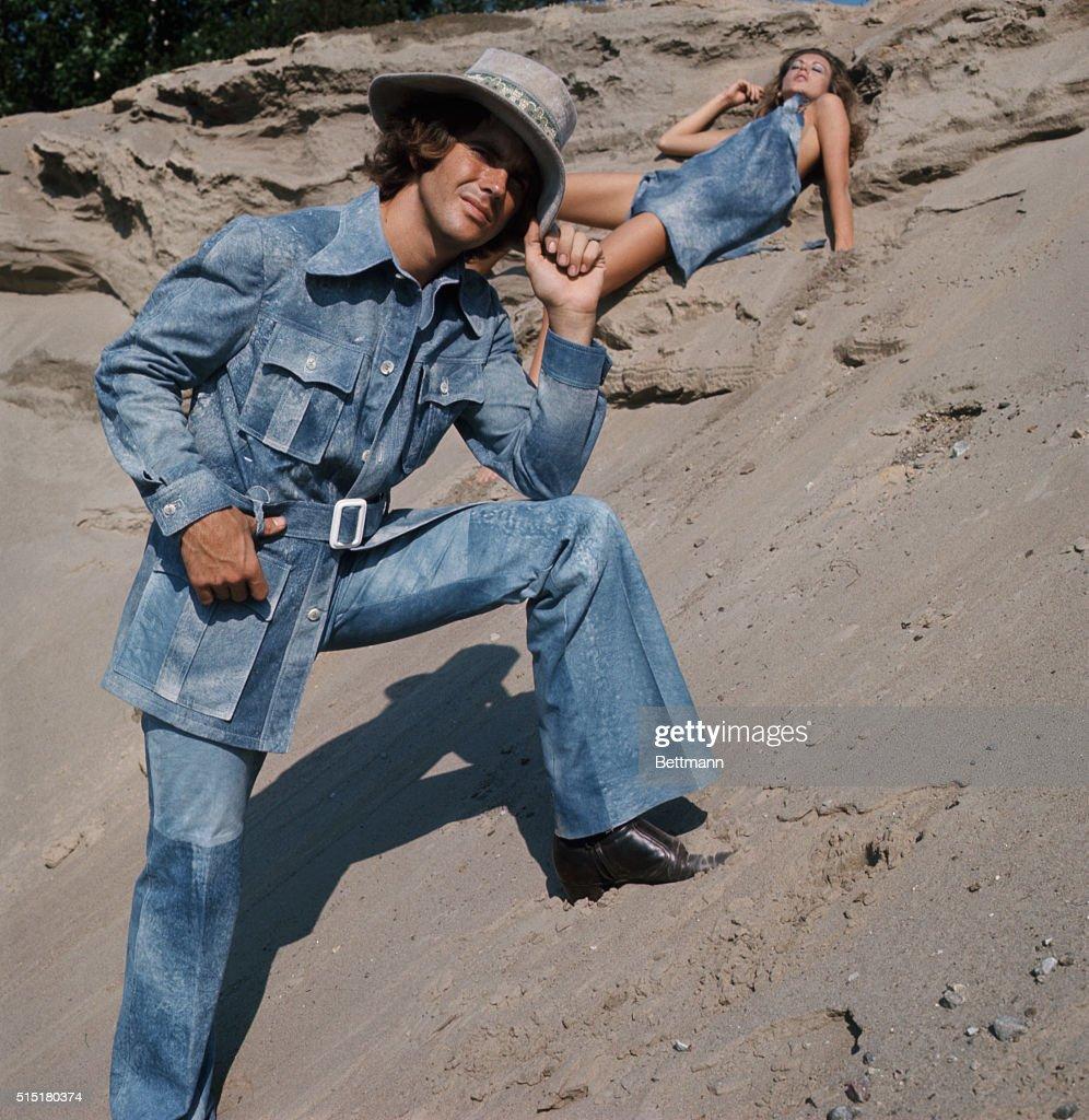 Robert Chernin In Denim Safari Outfit : News Photo