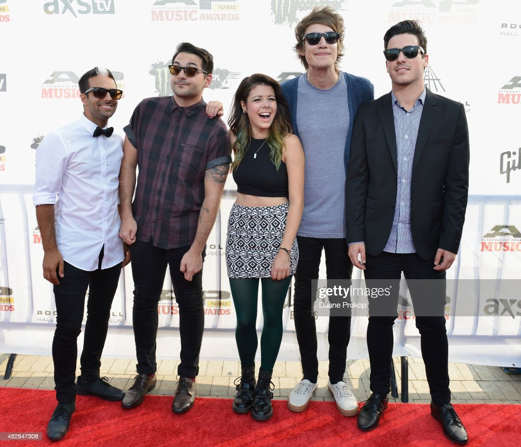 Robert Chianelli, Mike Ferri, Taylor Jardine, Jordan Eckes and Cameron Hurley of We Are the In Crowd attend the 2014 Gibson Brands AP Music Awards at the Rock and Roll Hall of Fame and Museum on July 21, 2014 in Cleveland, Ohio.