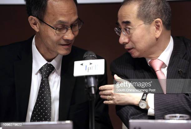 Robert Chung Tingyiu Director of HKU POP and Larry Kwok Lamkwong Chairman of IPCC attend a press conference to release a public opinion survey...