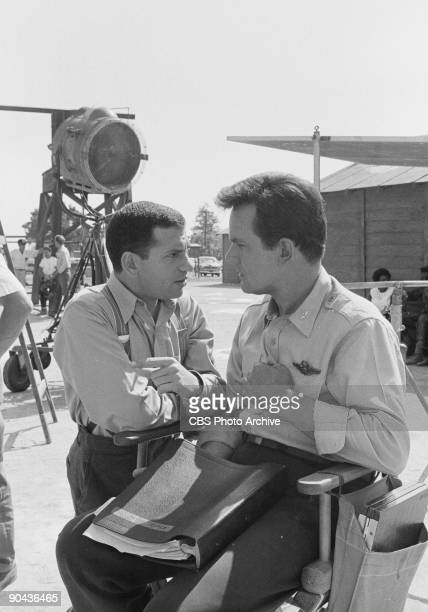 HEROES Robert Clary as Cpl Louis LeBeau and Bob Crane as Col Robert E Hogan in between scenes of A Klink A Bomb And A Short Fuse an episode from CBS'...