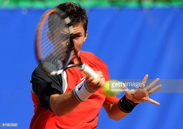 Robert Coman of Romania in action against Santiago Ventura of Spain during the Qualifying Round of The BCR Open Romania at the BNR Arena on September...