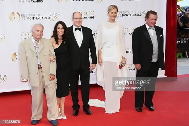 Robert Conrad Robin Tunney Prince Albert II of Monaco Adriana Karembeu and Tom Berenger attend the closing ceremony of the 53rd Monte Carlo TV...