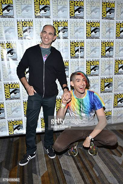 Robert Cooper and Max Landis attend the Dirk Gently press line at Comic-Con International 2016 - Day 3 on July 23, 2016 in San Diego, California.