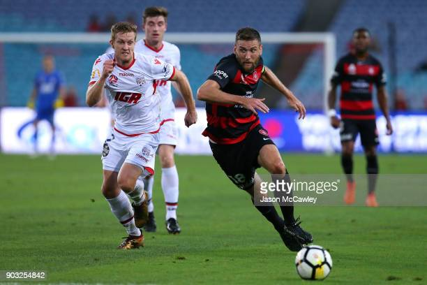 Robert Cornthwaite of the Wanderers controls the ball during the round 15 ALeague match between the Western Sydney Wanderers and Adelaide United at...