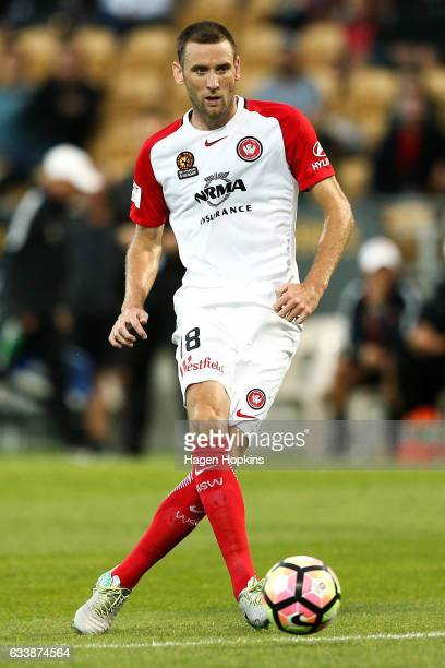 Robert Cornthwaite of the Wanderers passes during the round 18 ALeague match between the Wellington Phoenix and the Western Sydney Wanderers at...