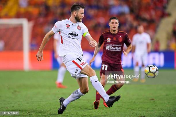 Robert Cornthwaite of the Wanderers passes the ball during the round 14 ALeague match between the Brisbane Roar and the Western Sydney Wanderers at...