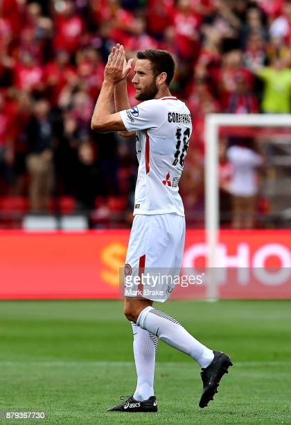 Robert Cornthwaite of West Sydney Wanderers claps the crowd as he walks off with a red card during the round eight ALeague match between Adelaide...