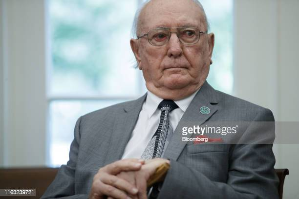 Robert Cousy former National Basketball Association player for the Boston Celtics listens while US Donald Trump speaks not pictured during a...