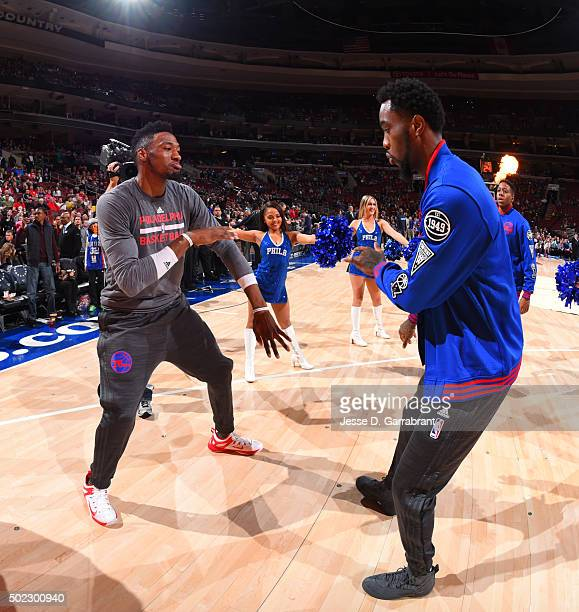 Robert Covington and Tony Wroten of the Philadelphia 76ers get ready for the game against the Memphis Grizzlies at Wells Fargo Center on December 22...