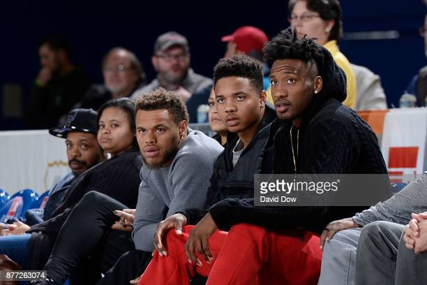 Robert Covington Markelle Fultz and Justin Anderson of the Philadelphia 76ers are seen during the game between the Wisconsin Herd and the Delaware...