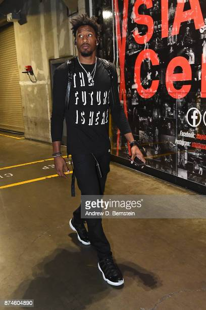 Robert Covington of the Philadelphia 76ers arrives at the arena before the game against the LA Clippers on November 13 2017 at STAPLES Center in Los...