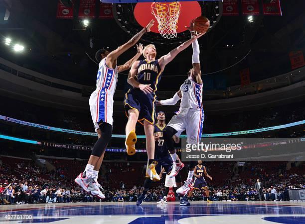 Robert Covington of the Philadelphia 76ers blocks the shot against the Indiana Pacers at Wells Fargo Center on November 18 2015 in Philadelphia...