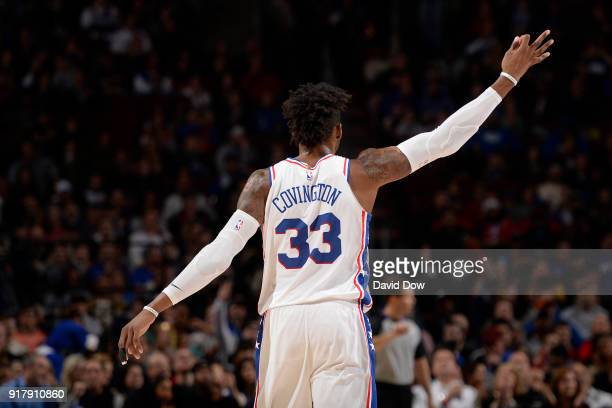 Robert Covington of the Philadelphia 76ers celebrates a three point basket during the game against the LA Clippers at Wells Fargo Center on February...