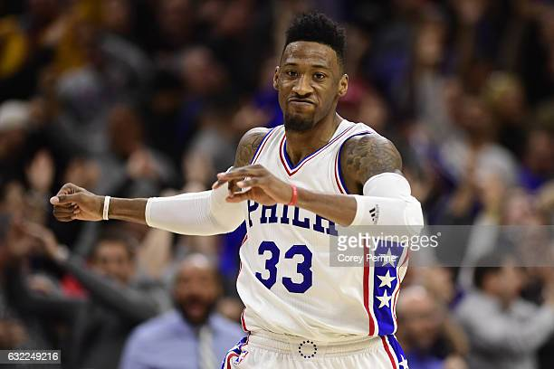 Robert Covington of the Philadelphia 76ers celebrates his gamewinning basket against the Portland Trail Blazers during the fourth quarter at the...