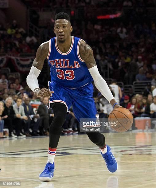 Robert Covington of the Philadelphia 76ers dribbles the ball against the Cleveland Cavaliers at Wells Fargo Center on November 5 2016 in Philadelphia...