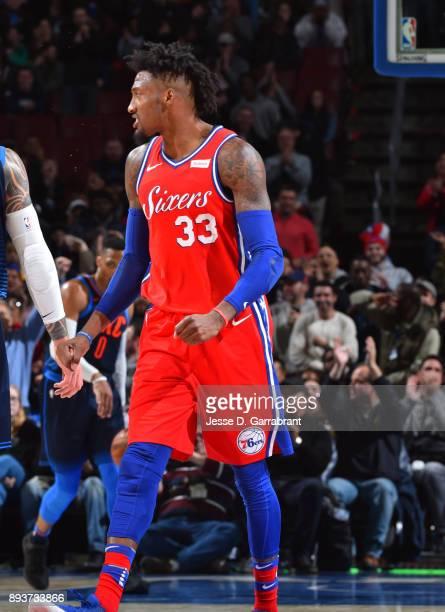 Robert Covington of the Philadelphia 76ers gets pumped up against the Oklahoma City Thunder at Wells Fargo Center on December 15 2017 in Philadelphia...