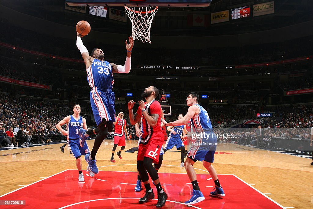 Robert Covington #33 of the Philadelphia 76ers goes to the basket against the Washington Wizards on January 14, 2017 at Verizon Center in Washington, DC.