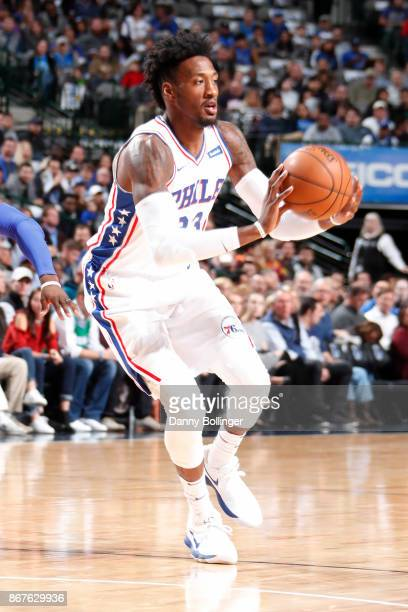 Robert Covington of the Philadelphia 76ers handles the ball against the Dallas Mavericks on October 28 2017 at the American Airlines Center in Dallas...