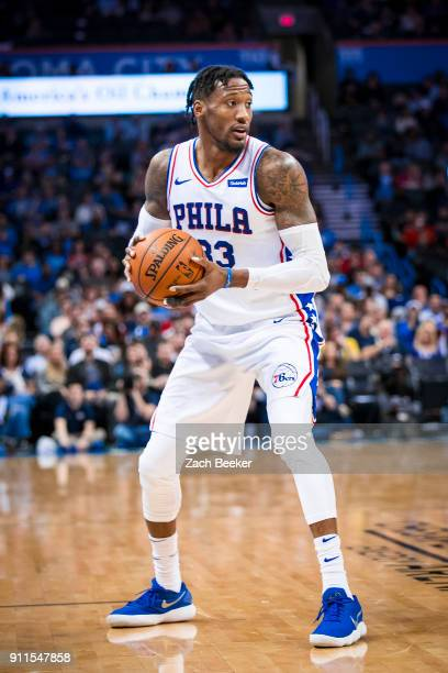 Robert Covington of the Philadelphia 76ers handles the ball against the Oklahoma City Thunder on January 28 2018 at Chesapeake Energy Arena in...