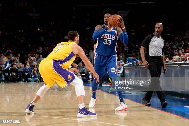 Robert Covington of the Philadelphia 76ers handles the ball during the game against the Los Angeles Lakers on December 7 2017 at Wells Fargo Center...