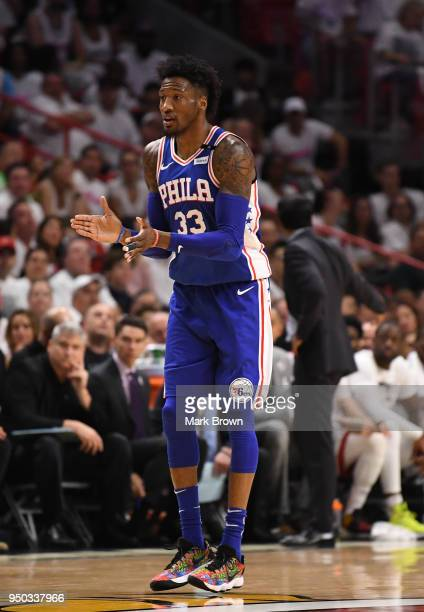 Robert Covington of the Philadelphia 76ers in action in the first quarter against the Miami Heat during Game Four of Round One of the 2018 NBA...