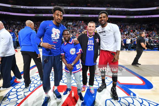 Robert Covington of the Philadelphia 76ers Kevin Hart and Udonis Haslem of the Miami Heat look on prior to Game Two of Round One of the 2018 NBA...