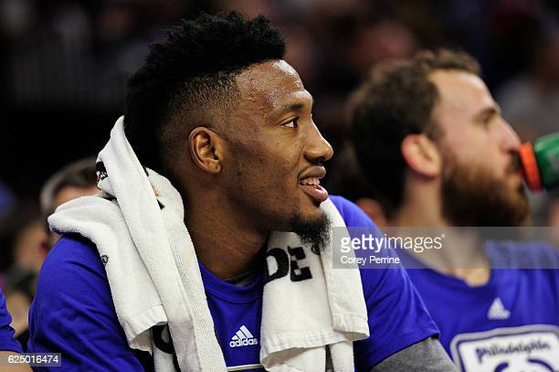 Robert Covington of the Philadelphia 76ers looks from the bench as the team take on the Phoenix Suns during the first quarter at the Wells Fargo...