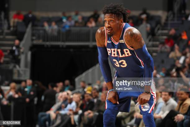 Robert Covington of the Philadelphia 76ers looks on during the game against the Charlotte Hornets on March 6 2018 at Spectrum Center in Charlotte...