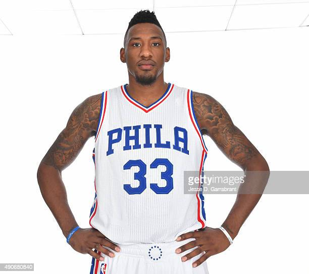 Robert Covington of the Philadelphia 76ers poses for a photo during media day on September 28 2015 in Galloway New Jersey NOTE TO USER User expressly...