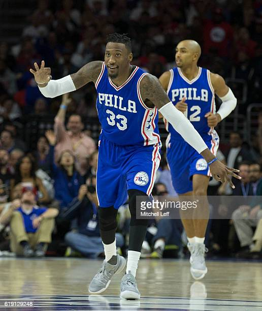 Robert Covington of the Philadelphia 76ers reacts after a made basket against the Oklahoma City Thunder at Wells Fargo Center on October 26 2016 in...