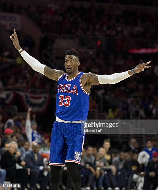 Robert Covington of the Philadelphia 76ers reacts after a made basket against the Philadelphia 76ers at Wells Fargo Center on November 5 2016 in...