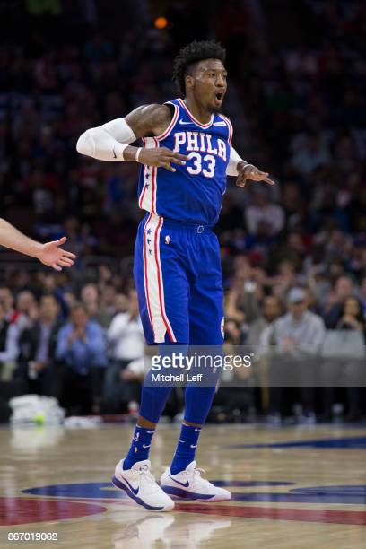 Robert Covington of the Philadelphia 76ers reacts after a made basket against the Houston Rockets at the Wells Fargo Center on October 25 2017 in...