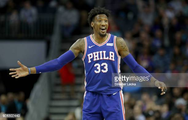 Robert Covington of the Philadelphia 76ers reacts after a play against the Charlotte Hornets during their game at Spectrum Center on March 6 2018 in...
