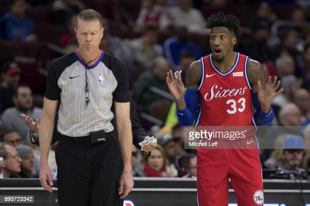 Robert Covington of the Philadelphia 76ers reacts after being called for a technical foul by referee Ed Malloy in the second quarter against the...