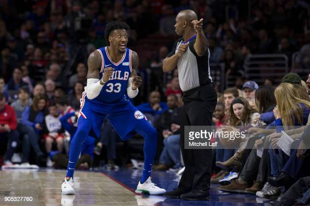 Robert Covington of the Philadelphia 76ers reacts after referee Dedric Taylor awarded the Toronto Raptors possession of the ball in the third quarter...