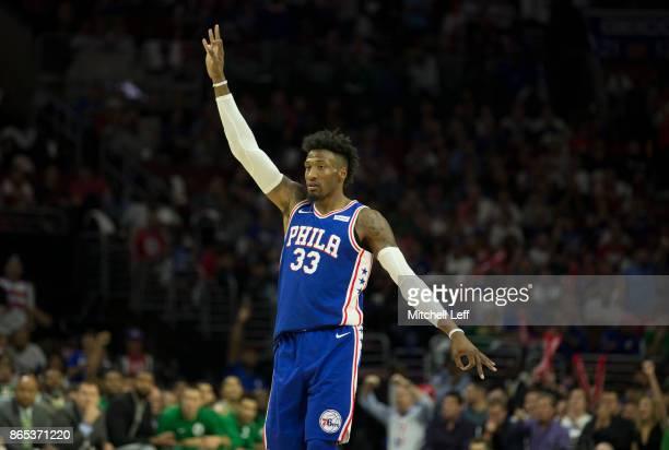 Robert Covington of the Philadelphia 76ers reacts against the Boston Celtics at the Wells Fargo Center on October 20 2017 in Philadelphia...