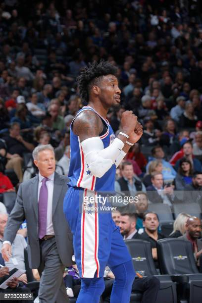 Robert Covington of the Philadelphia 76ers reacts against the Sacramento Kings on November 9 2017 at Golden 1 Center in Sacramento California NOTE TO...