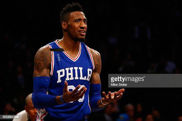 Robert Covington of the Philadelphia 76ers reacts against the Brooklyn Nets at Barclays Center on December 10 2015 in Brooklyn borough of New York...